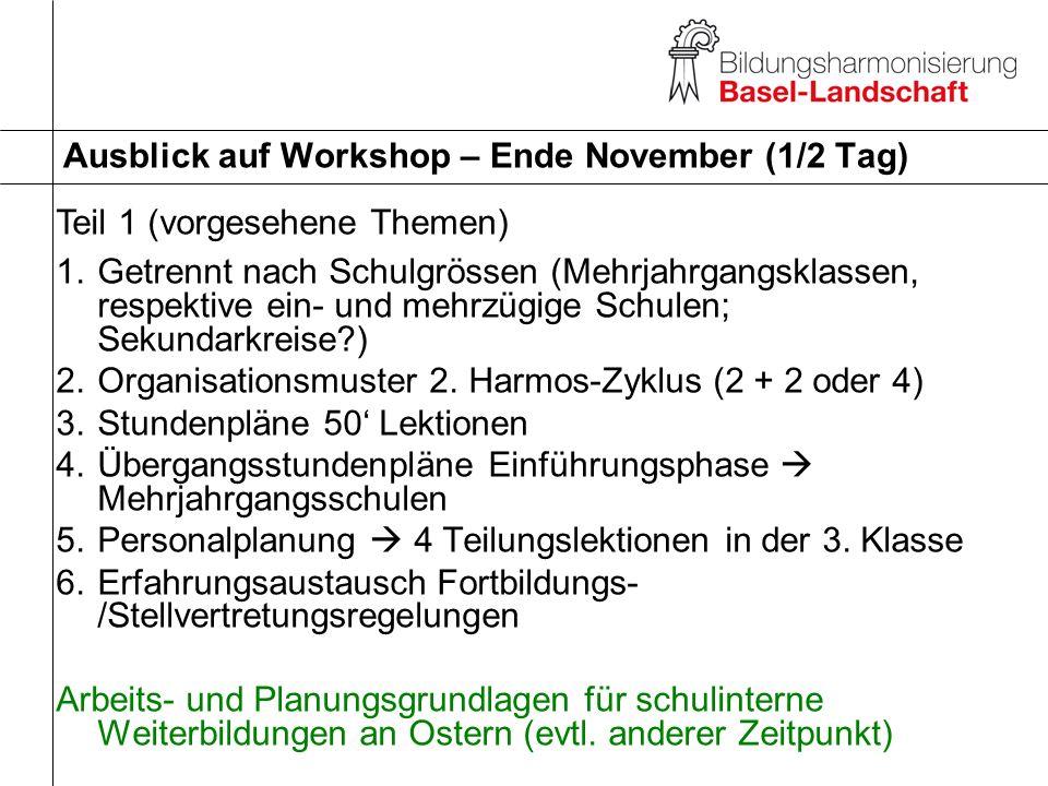 Ausblick auf Workshop – Ende November (1/2 Tag) 1.Getrennt nach Schulgrössen (Mehrjahrgangsklassen, respektive ein- und mehrzügige Schulen; Sekundarkr