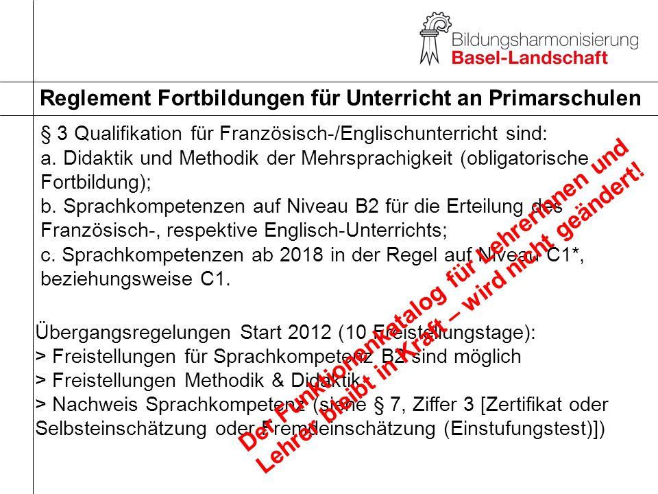 Reglement Fortbildungen für Unterricht an Primarschulen § 4 Ermittlung des Fortbildungsbedarfs a.