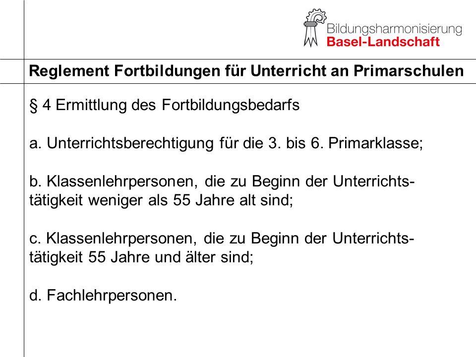 Reglement Fortbildungen für Unterricht an Primarschulen § 4 Ermittlung des Fortbildungsbedarfs a. Unterrichtsberechtigung für die 3. bis 6. Primarklas