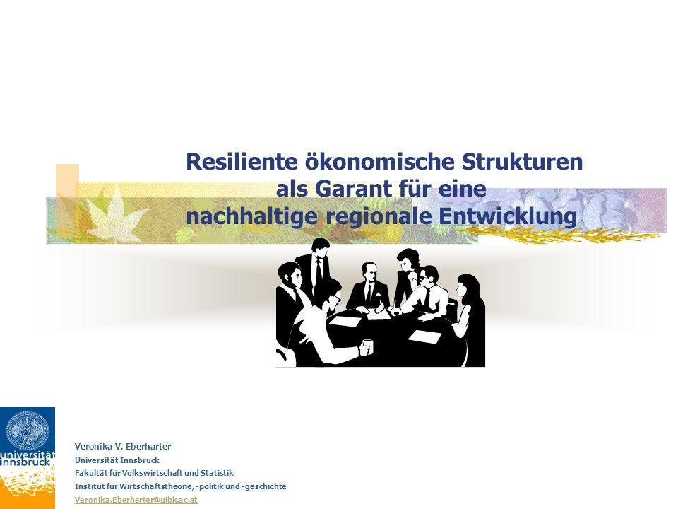 Resiliente ökonomische Strukturen als Garant für eine nachhaltige regionale Entwicklung Veronika V. Eberharter Universität Innsbruck Fakultät für Volk