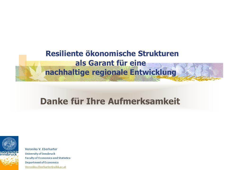 Danke für Ihre Aufmerksamkeit Veronika V. Eberharter University of Innsbruck Faculty of Economics and Statistics Department of Economics Veronika.Eber
