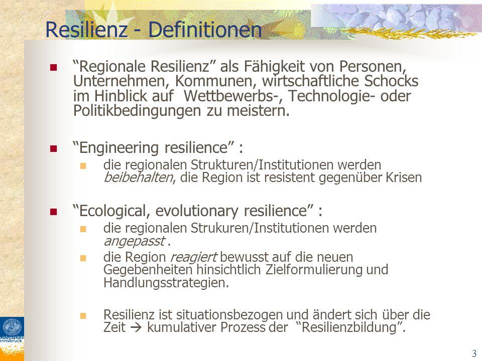 3 Regionale Resilienz als Fähigkeit von Personen, Unternehmen, Kommunen, wirtschaftliche Schocks im Hinblick auf Wettbewerbs-, Technologie- oder Polit