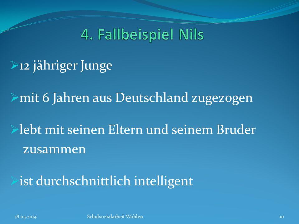 12 jähriger Junge mit 6 Jahren aus Deutschland zugezogen lebt mit seinen Eltern und seinem Bruder zusammen ist durchschnittlich intelligent 18.05.2014