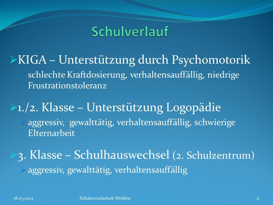 KIGA – Unterstützung durch Psychomotorik schlechte Kraftdosierung, verhaltensauffällig, niedrige Frustrationstoleranz 1./2. Klasse – Unterstützung Log