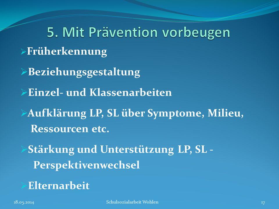 Früherkennung Beziehungsgestaltung Einzel- und Klassenarbeiten Aufklärung LP, SL über Symptome, Milieu, Ressourcen etc. Stärkung und Unterstützung LP,