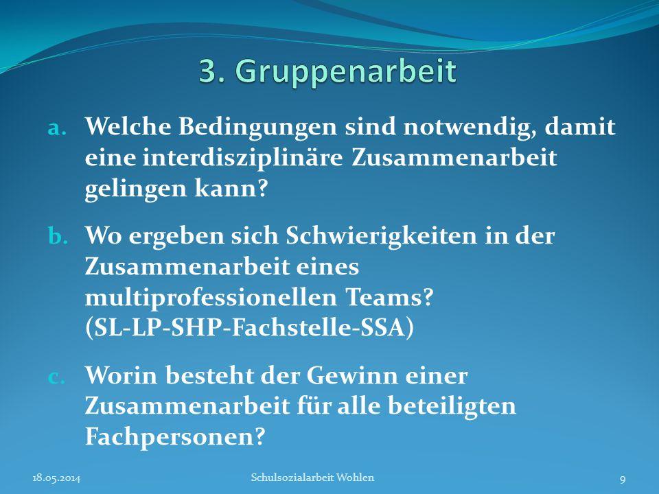 a. Welche Bedingungen sind notwendig, damit eine interdisziplinäre Zusammenarbeit gelingen kann? b. Wo ergeben sich Schwierigkeiten in der Zusammenarb