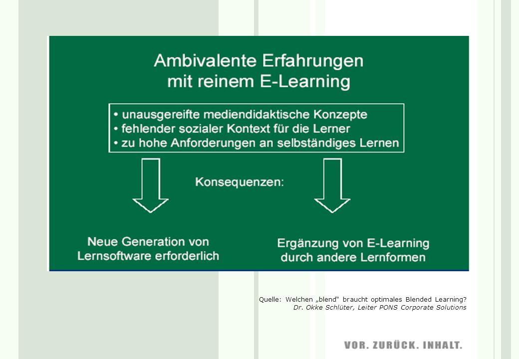 Quelle: Welchen blend braucht optimales Blended Learning? Dr. Okke Schlüter, Leiter PONS Corporate Solutions