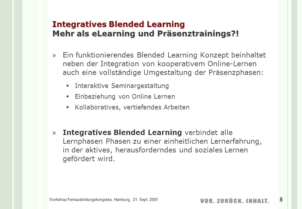 Workshop Fernausbildungskongress, Hamburg, 21.Sept.
