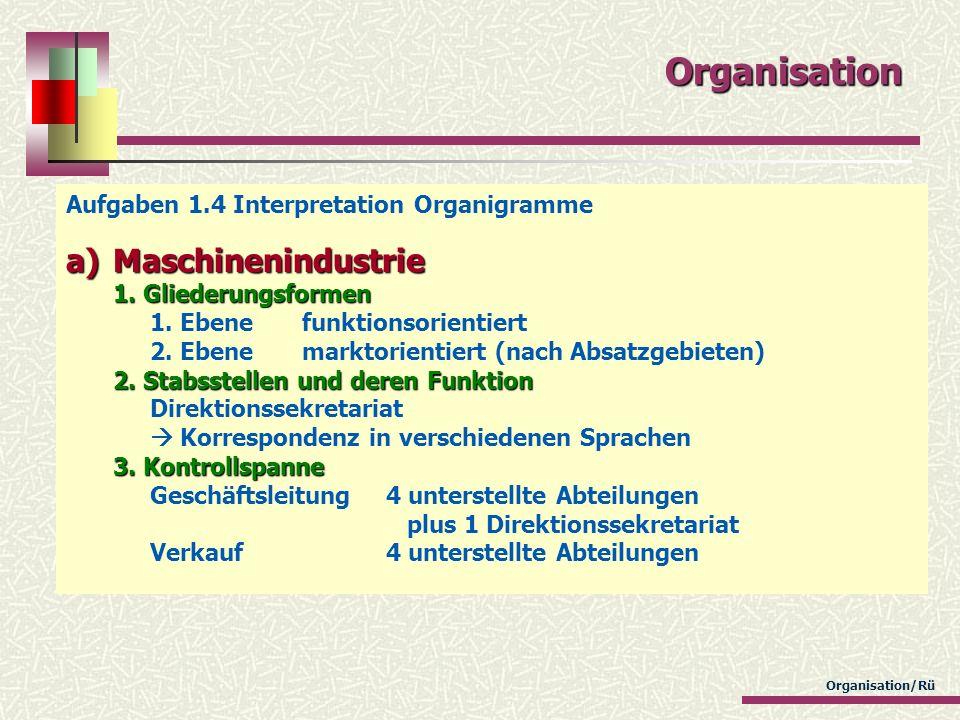 Organisation Aufgaben 1.4 Interpretation Organigramme a)Maschinenindustrie 1. Gliederungsformen 2. Stabsstellen und deren Funktion 3. Kontrollspanne a