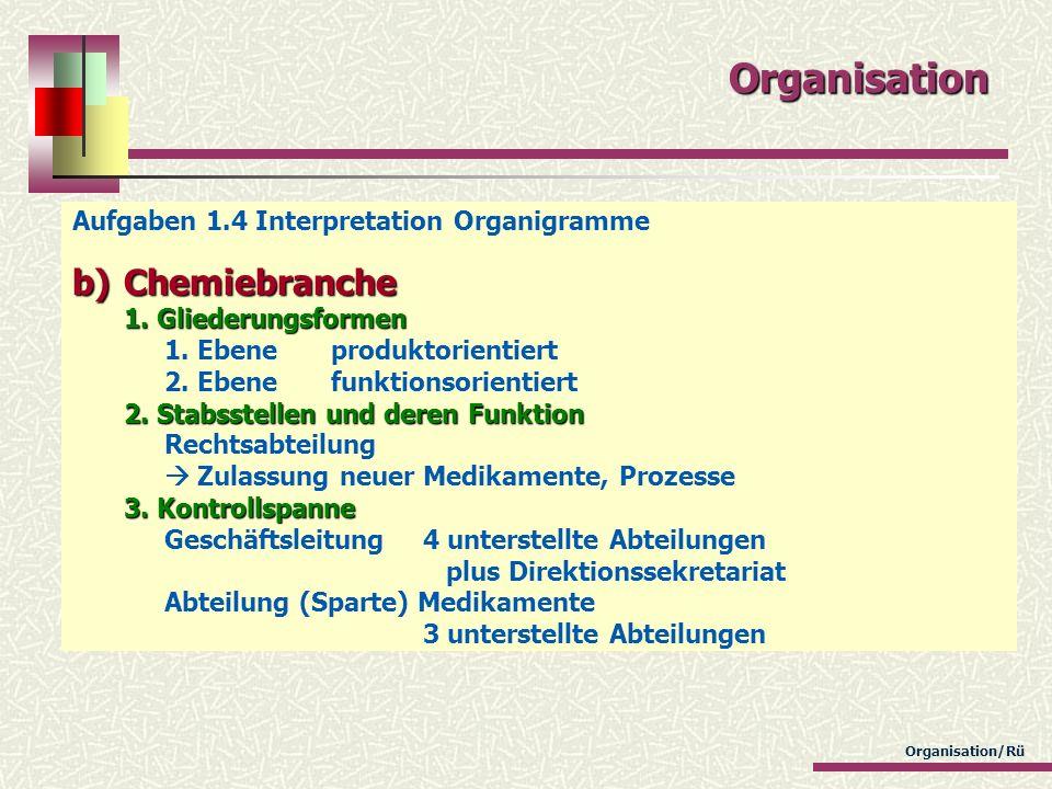 Organisation/Rü Organisation Aufgaben 1.4 Interpretation Organigramme b)Chemiebranche 1. Gliederungsformen 2. Stabsstellen und deren Funktion 3. Kontr