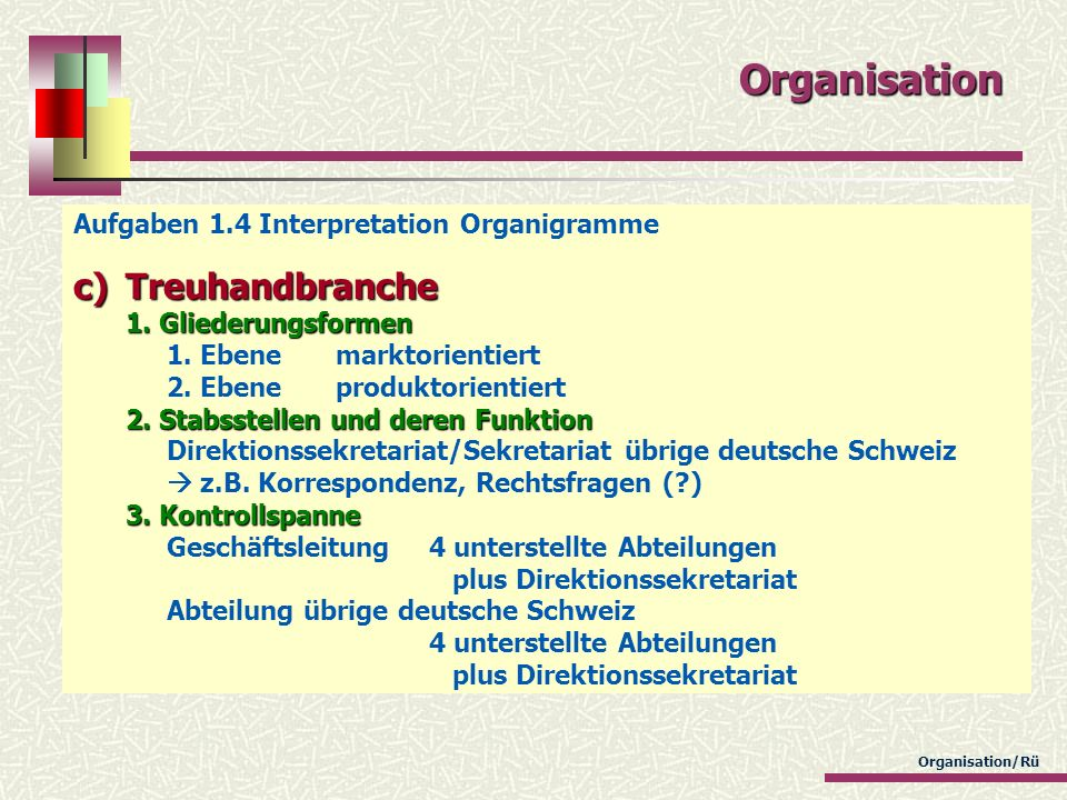 Organisation/Rü Organisation Aufgaben 1.4 Interpretation Organigramme c)Treuhandbranche 1. Gliederungsformen 2. Stabsstellen und deren Funktion 3. Kon