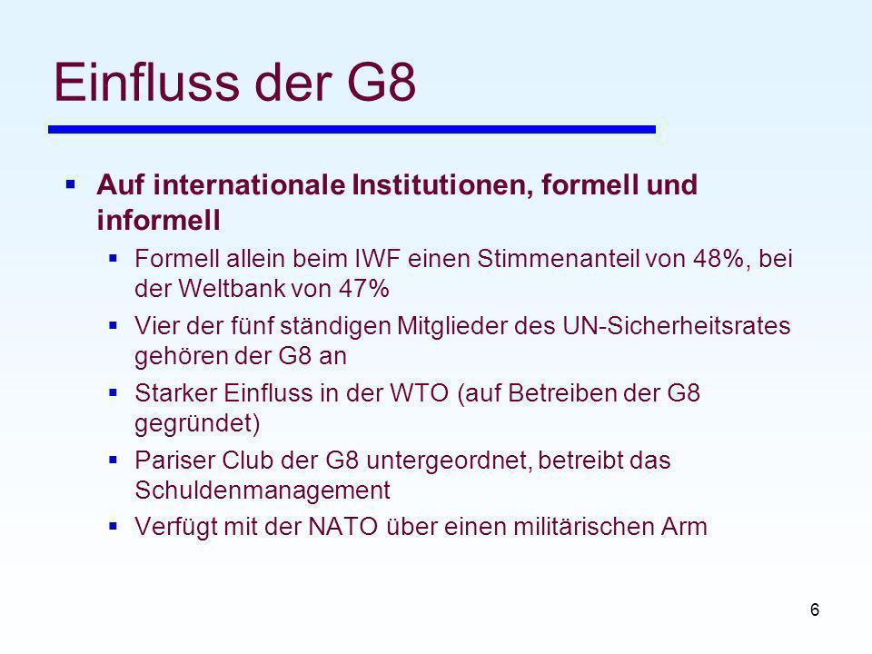 6 Einfluss der G8 Auf internationale Institutionen, formell und informell Formell allein beim IWF einen Stimmenanteil von 48%, bei der Weltbank von 47% Vier der fünf ständigen Mitglieder des UN-Sicherheitsrates gehören der G8 an Starker Einfluss in der WTO (auf Betreiben der G8 gegründet) Pariser Club der G8 untergeordnet, betreibt das Schuldenmanagement Verfügt mit der NATO über einen militärischen Arm