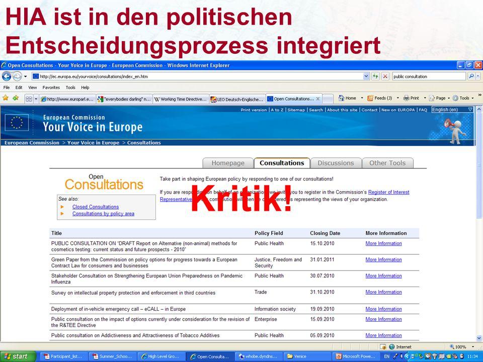 HIA ist in den politischen Entscheidungsprozess integriert Kritik!