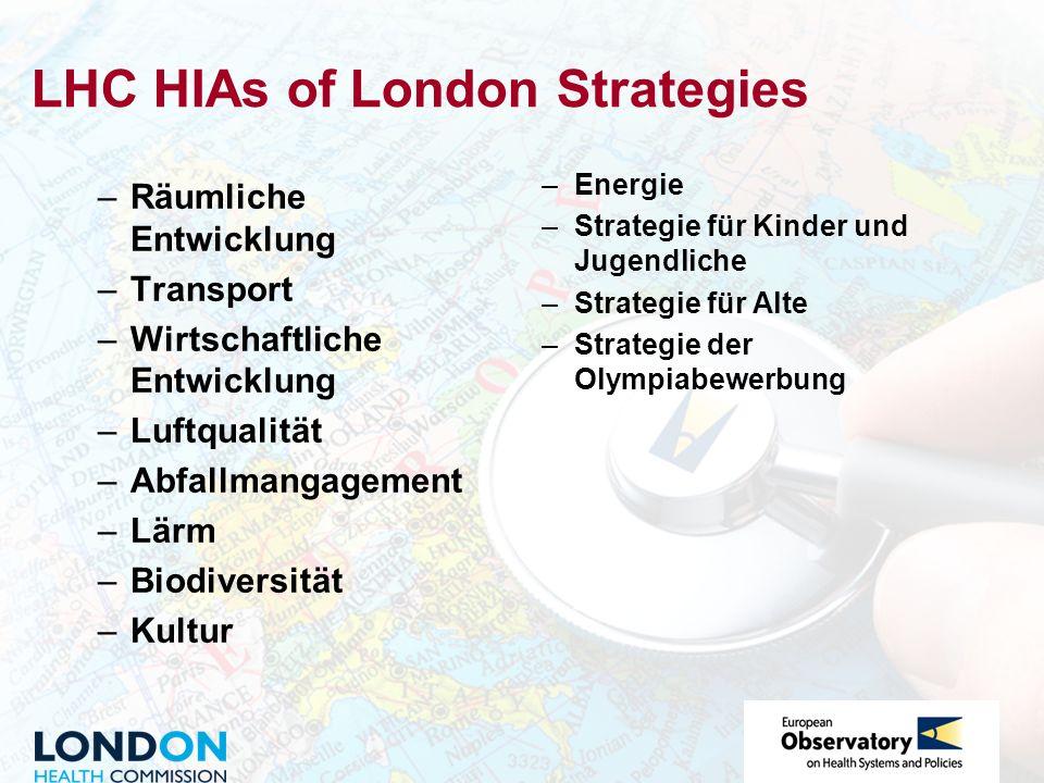 LHC HIAs of London Strategies –Räumliche Entwicklung –Transport –Wirtschaftliche Entwicklung –Luftqualität –Abfallmangagement –Lärm –Biodiversität –Kultur –Energie –Strategie für Kinder und Jugendliche –Strategie für Alte –Strategie der Olympiabewerbung