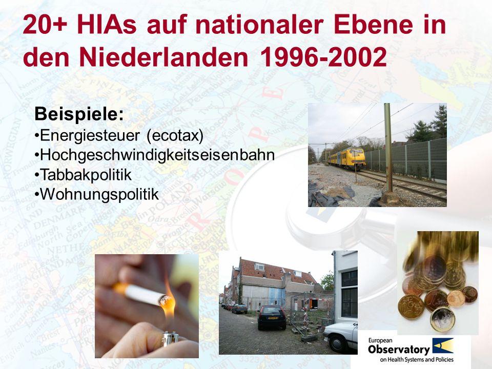 20+ HIAs auf nationaler Ebene in den Niederlanden 1996-2002 Beispiele: Energiesteuer (ecotax) Hochgeschwindigkeitseisenbahn Tabbakpolitik Wohnungspolitik
