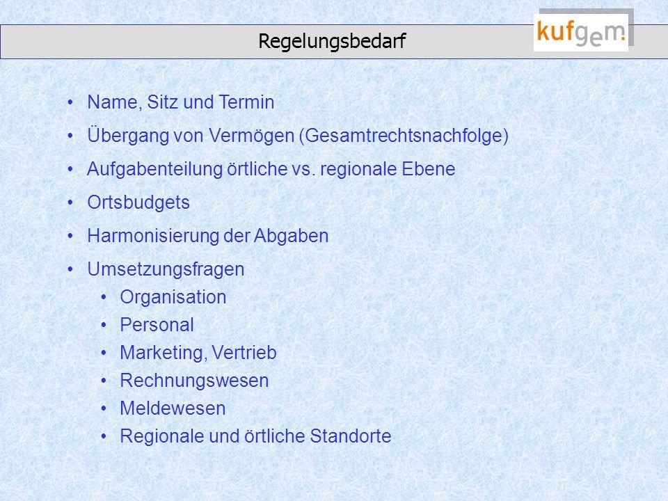 Regelungsbedarf Name, Sitz und Termin Übergang von Vermögen (Gesamtrechtsnachfolge) Aufgabenteilung örtliche vs.