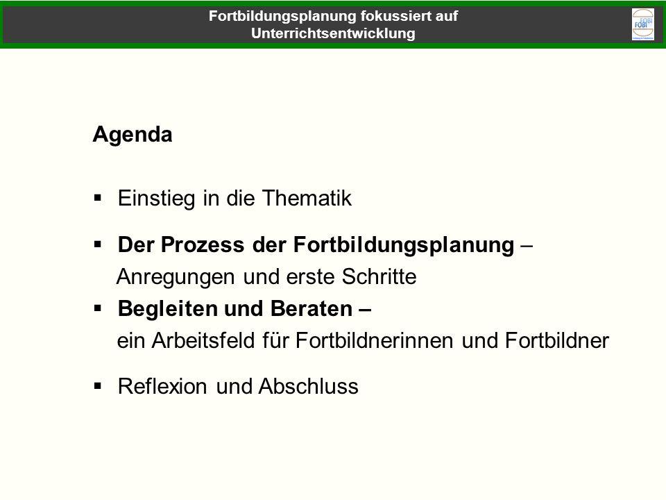 Agenda Einstieg in die Thematik Der Prozess der Fortbildungsplanung – Anregungen und erste Schritte Begleiten und Beraten – ein Arbeitsfeld für Fortbi