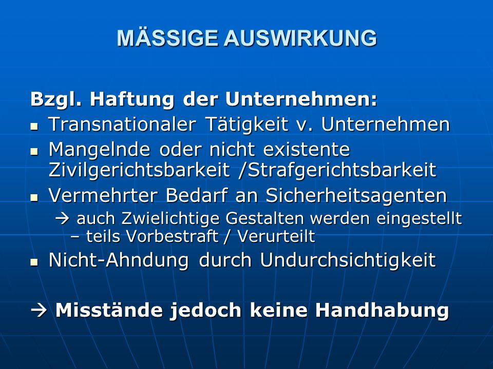 MÄSSIGE AUSWIRKUNG Bzgl. Haftung der Unternehmen: Transnationaler Tätigkeit v.