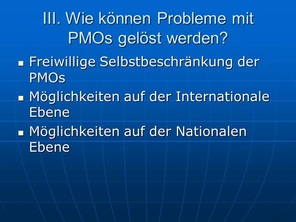 Freiwillige Selbstbeschränkung der PMOs Freiwillige Selbstbeschränkung der PMOs Möglichkeiten auf der Internationale Ebene Möglichkeiten auf der Inter
