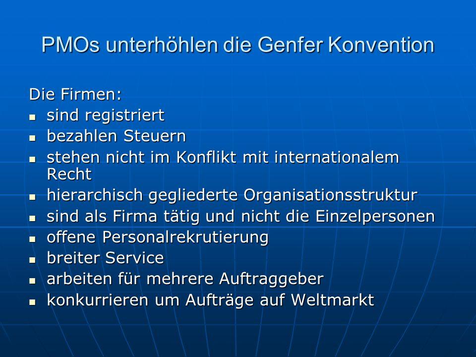 PMOs unterhöhlen die Genfer Konvention Die Firmen: sind registriert sind registriert bezahlen Steuern bezahlen Steuern stehen nicht im Konflikt mit in