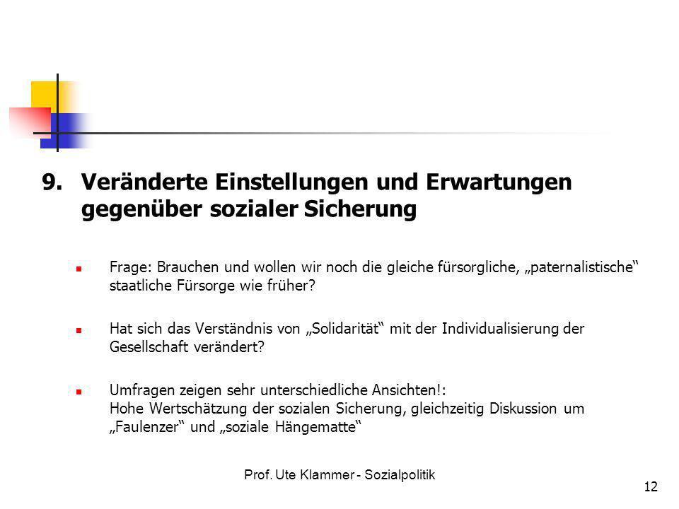 Prof. Ute Klammer - Sozialpolitik 12 9. Veränderte Einstellungen und Erwartungen gegenüber sozialer Sicherung Frage: Brauchen und wollen wir noch die