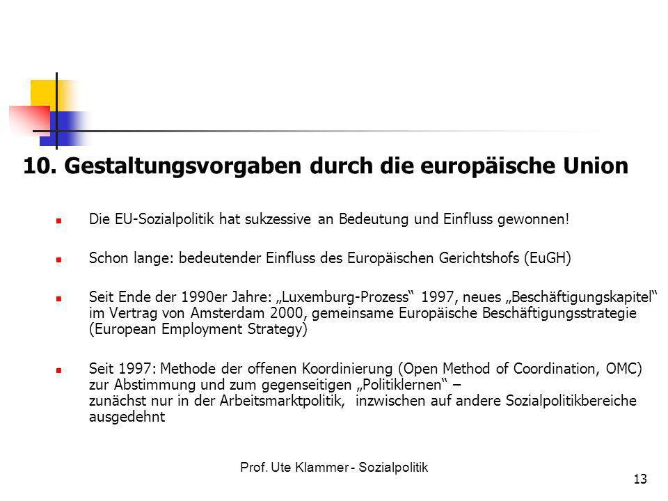 Prof. Ute Klammer - Sozialpolitik 13 10. Gestaltungsvorgaben durch die europäische Union Die EU-Sozialpolitik hat sukzessive an Bedeutung und Einfluss