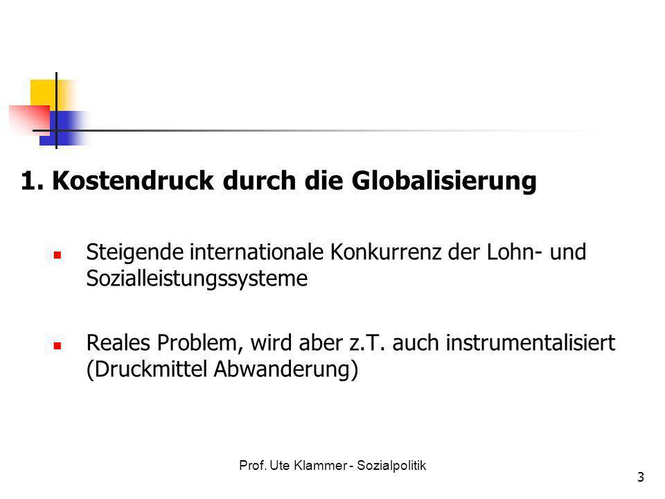Prof. Ute Klammer - Sozialpolitik 3 1. Kostendruck durch die Globalisierung Steigende internationale Konkurrenz der Lohn- und Sozialleistungssysteme R