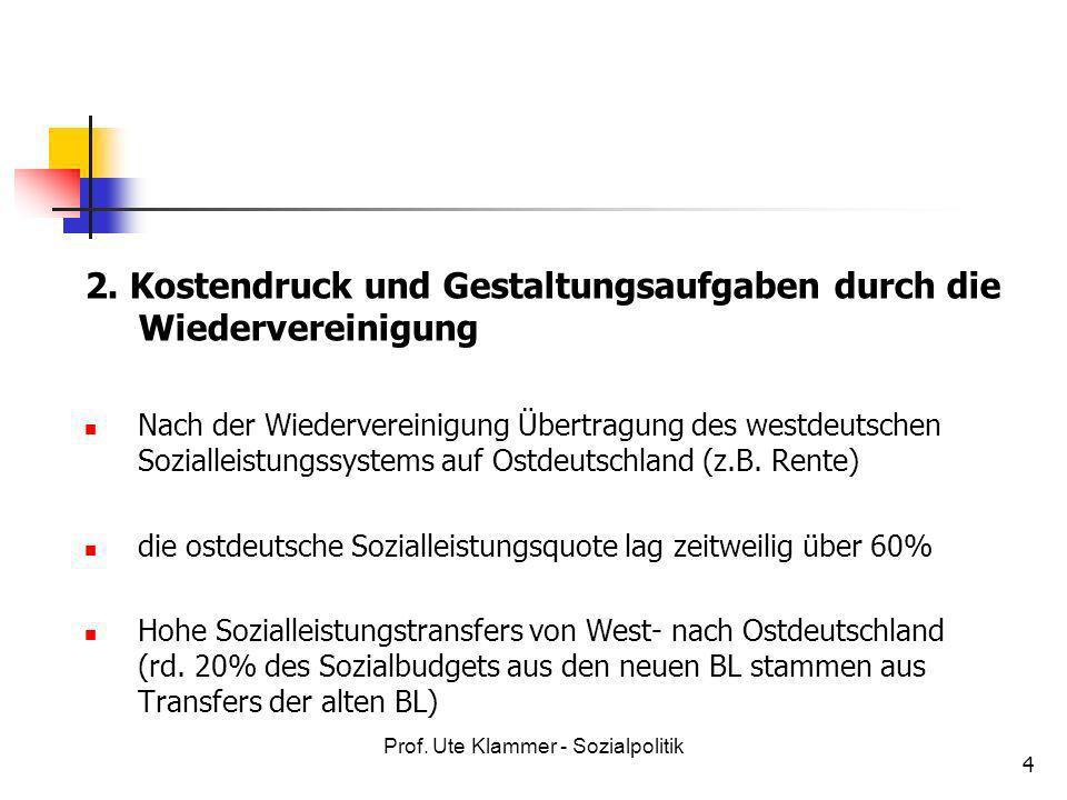 Prof. Ute Klammer - Sozialpolitik 4 2. Kostendruck und Gestaltungsaufgaben durch die Wiedervereinigung Nach der Wiedervereinigung Übertragung des west