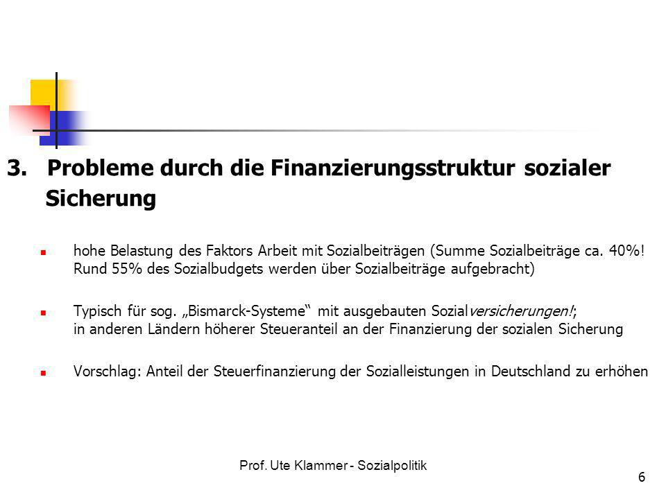 Prof. Ute Klammer - Sozialpolitik 6 3. Probleme durch die Finanzierungsstruktur sozialer Sicherung hohe Belastung des Faktors Arbeit mit Sozialbeiträg