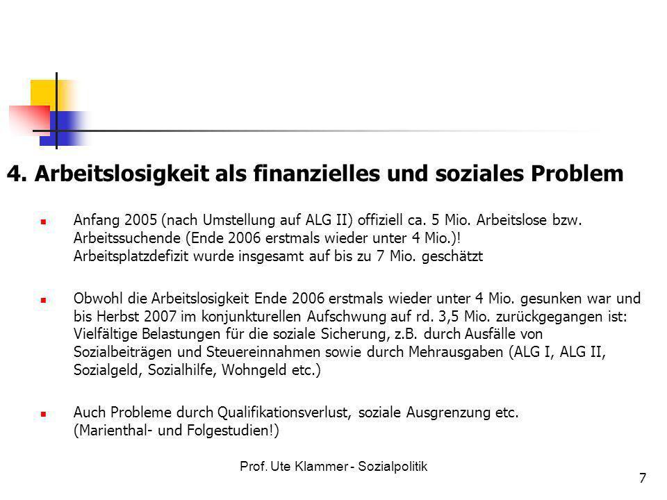 Prof. Ute Klammer - Sozialpolitik 7 4. Arbeitslosigkeit als finanzielles und soziales Problem Anfang 2005 (nach Umstellung auf ALG II) offiziell ca. 5