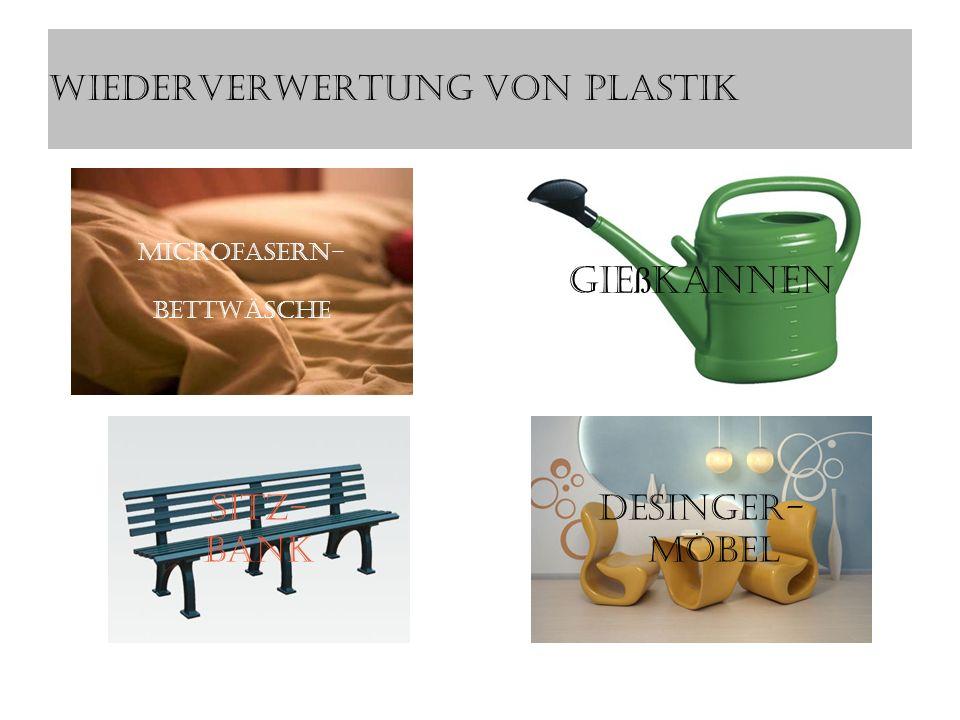 Wiederverwertung von Plastik Microfasern- Bettwäsche Gießkannen Desinger- Möbel Sitz- Bank