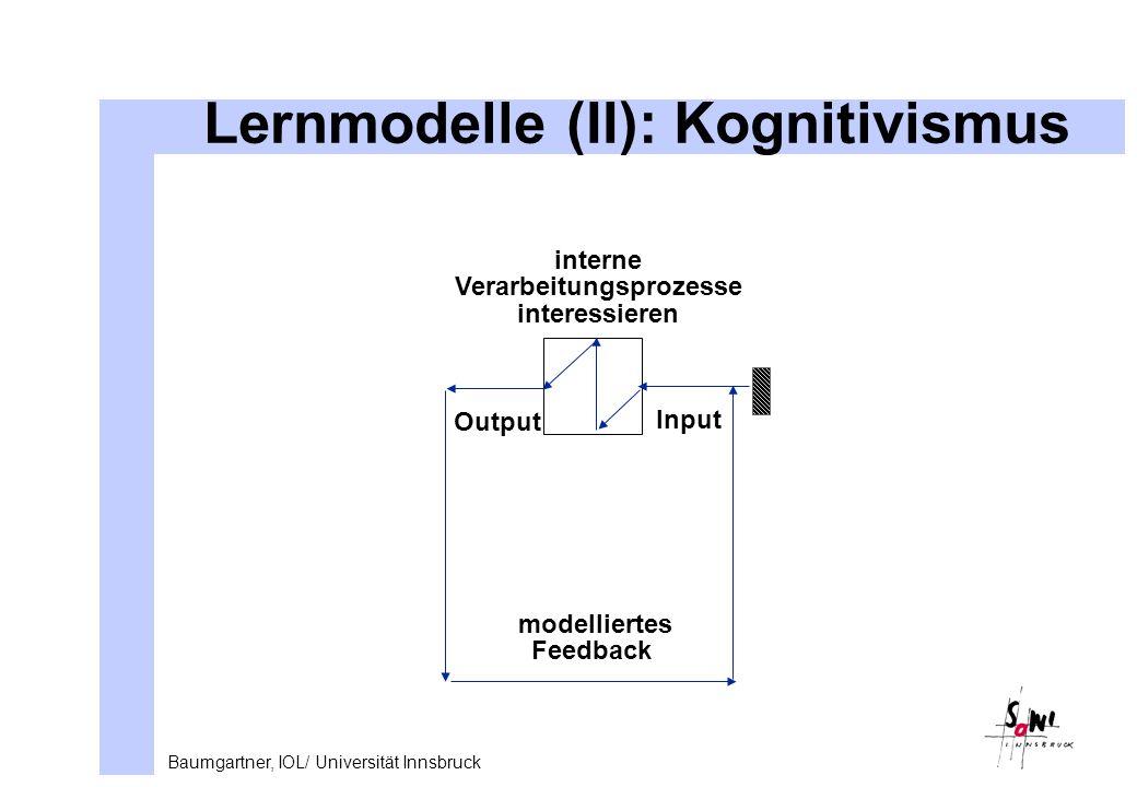 Baumgartner, IOL/ Universität Innsbruck Lernmodelle (II): Kognitivismus Input Output interne Verarbeitungsprozesse interessieren modelliertes Feedback
