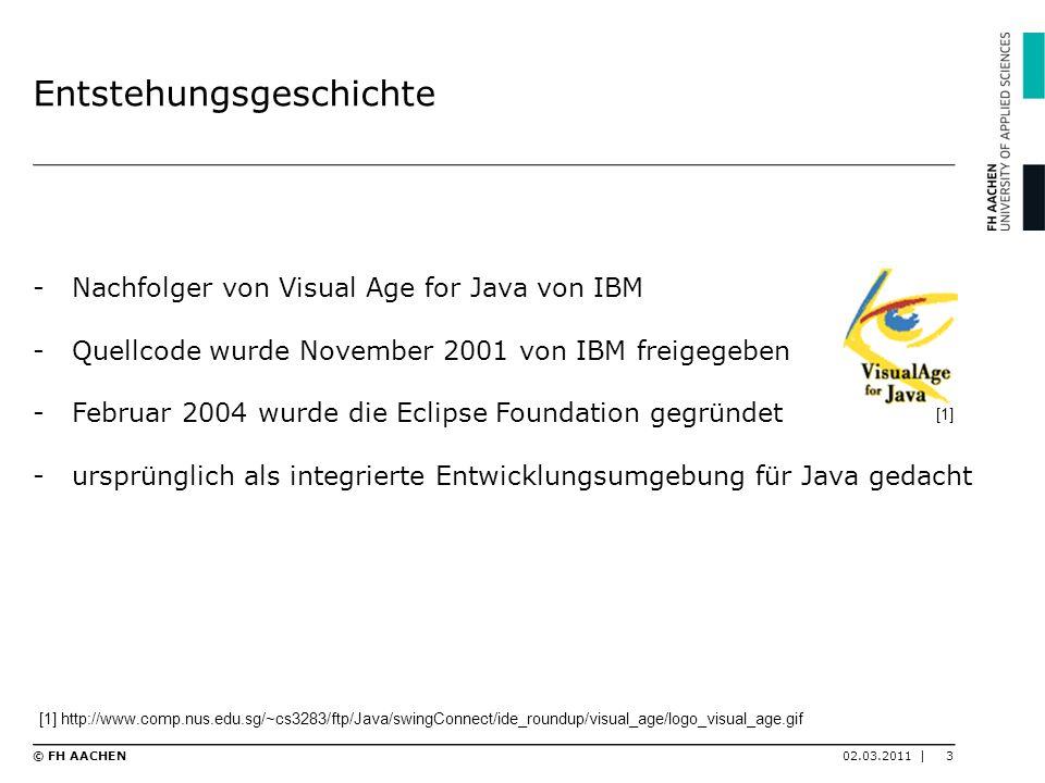 Entstehungsgeschichte -Nachfolger von Visual Age for Java von IBM -Quellcode wurde November 2001 von IBM freigegeben -Februar 2004 wurde die Eclipse F