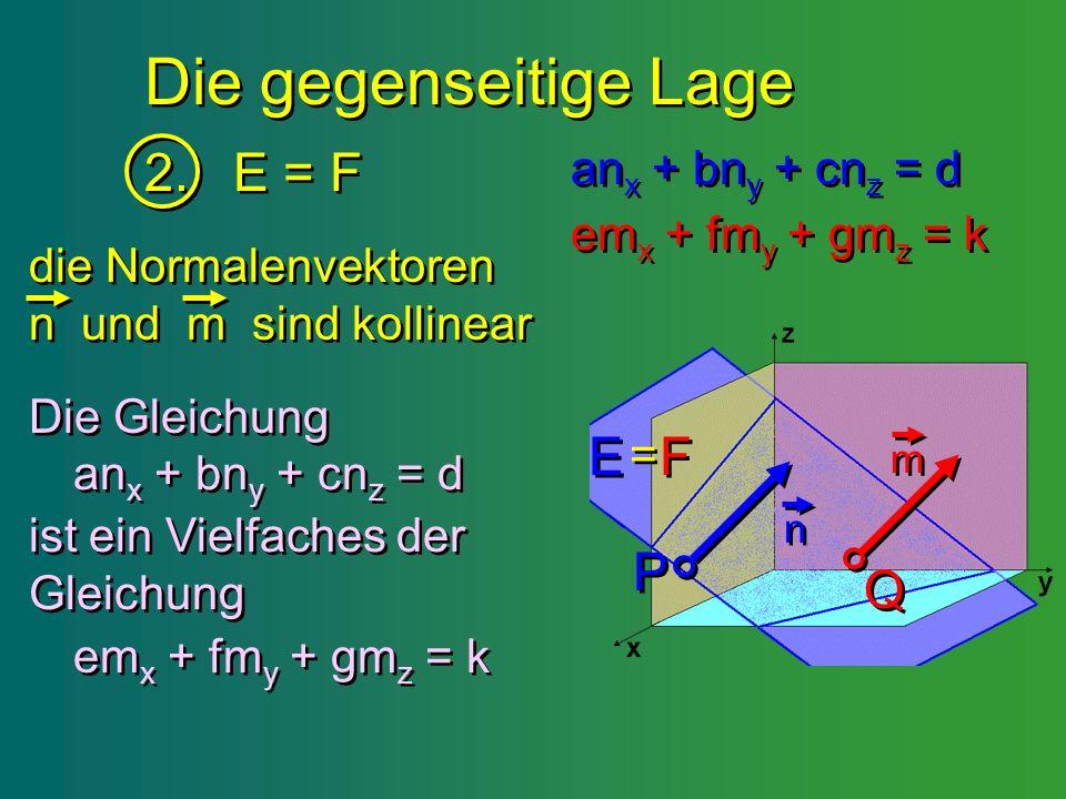 Die gegenseitige Lage 2. E = F 2. E = F P P Q Q E E F F = = n n m m an x + bn y + cn z = d an x + bn y + cn z = d em x + fm y + gm z = k em x + fm y +