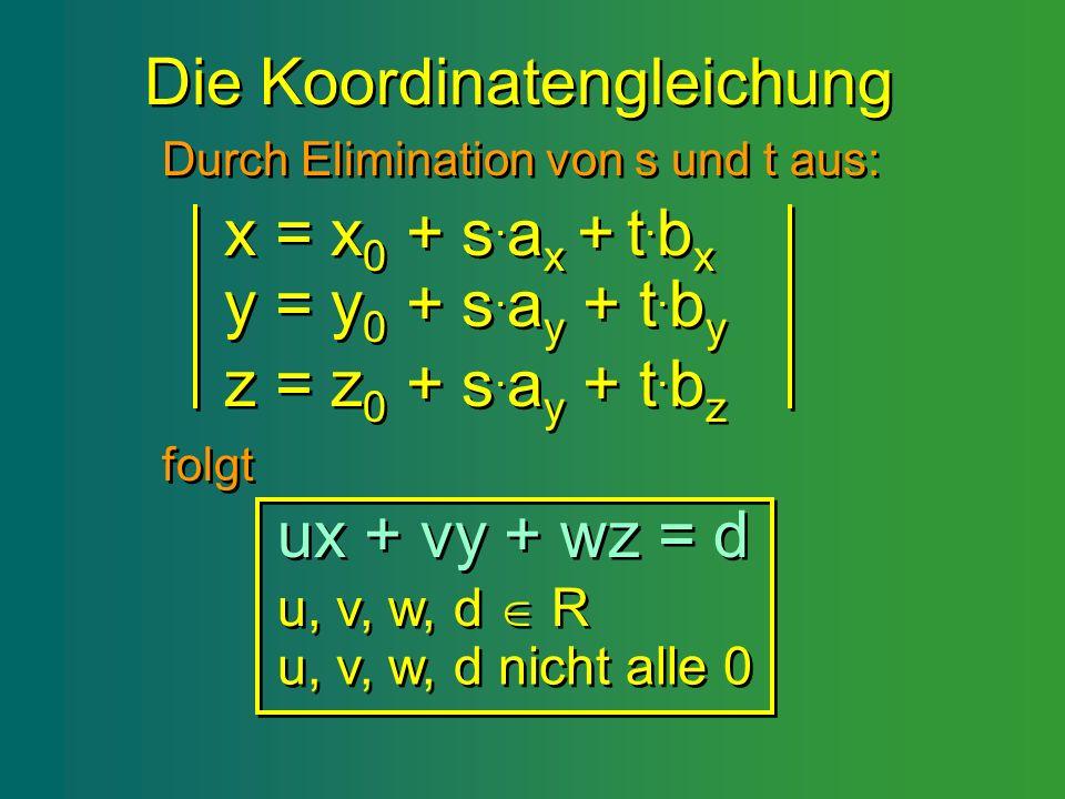 Die Koordinatengleichung Die Koordinatengleichung x = x 0 + s. a x + t. b x x = x 0 + s. a x + t. b x y = y 0 + s. a y + t. b y y = y 0 + s. a y + t.