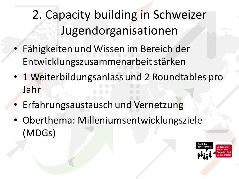 2. Capacity building in Schweizer Jugendorganisationen Fähigkeiten und Wissen im Bereich der Entwicklungszusammenarbeit stärken 1 Weiterbildungsanlass