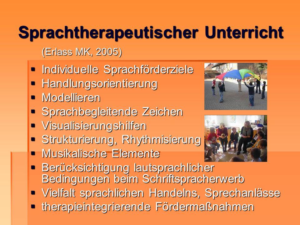 Sprachtherapeutischer Unterricht (Erlass MK, 2005) Individuelle Sprachförderziele Individuelle Sprachförderziele Handlungsorientierung Handlungsorient