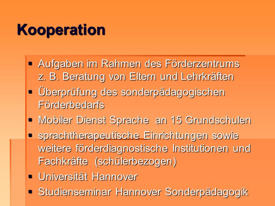 Kooperation Aufgaben im Rahmen des Förderzentrums z. B. Beratung von Eltern und Lehrkräften Aufgaben im Rahmen des Förderzentrums z. B. Beratung von E