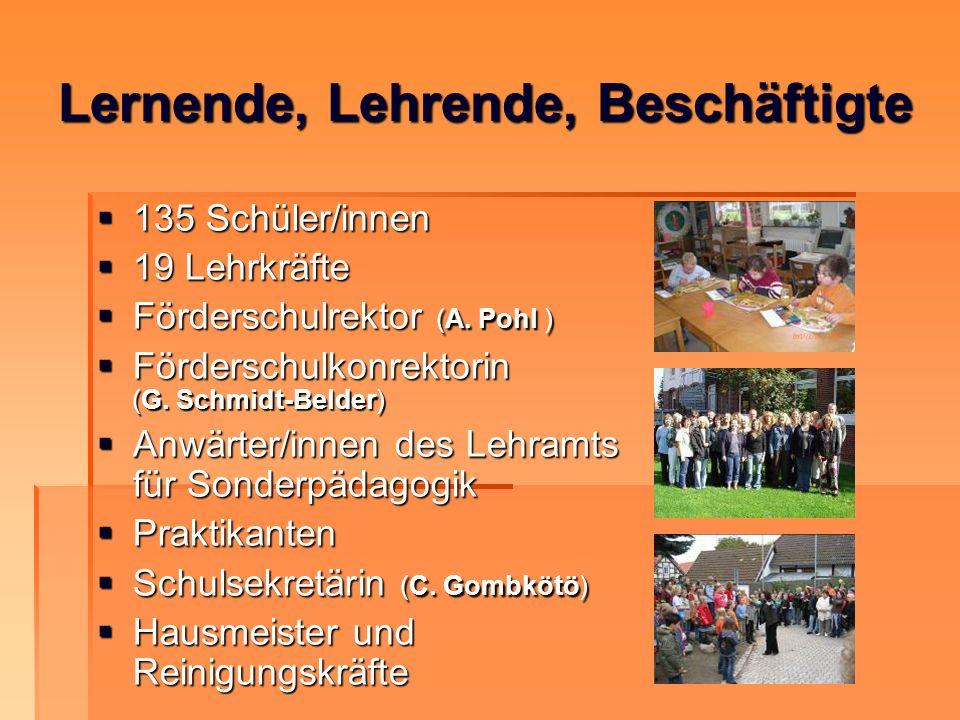 135 Schüler/innen 135 Schüler/innen 19 Lehrkräfte 19 Lehrkräfte Förderschulrektor (A. Pohl ) Förderschulrektor (A. Pohl ) Förderschulkonrektorin (G. S