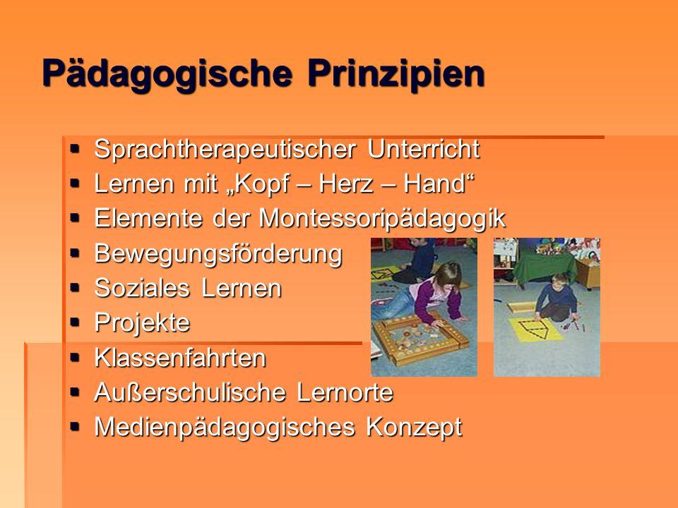 Pädagogische Prinzipien Sprachtherapeutischer Unterricht Sprachtherapeutischer Unterricht Lernen mit Kopf – Herz – Hand Lernen mit Kopf – Herz – Hand
