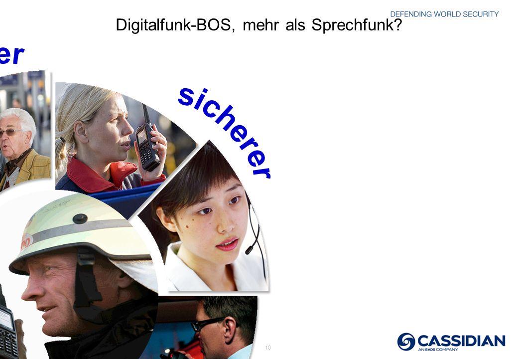 © 2010 CASSIDIAN THR9i - All rights reserved 10 Digitalfunk-BOS, mehr als Sprechfunk?