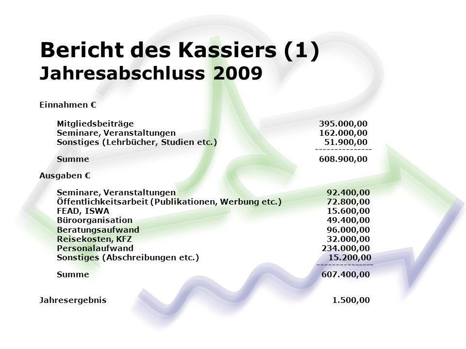 Bericht des Kassiers (1) Jahresabschluss 2009 Einnahmen Mitgliedsbeiträge 395.000,00 Seminare, Veranstaltungen 162.000,00 Sonstiges (Lehrbücher, Studi