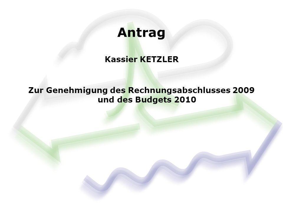 Antrag Kassier KETZLER Zur Genehmigung des Rechnungsabschlusses 2009 und des Budgets 2010