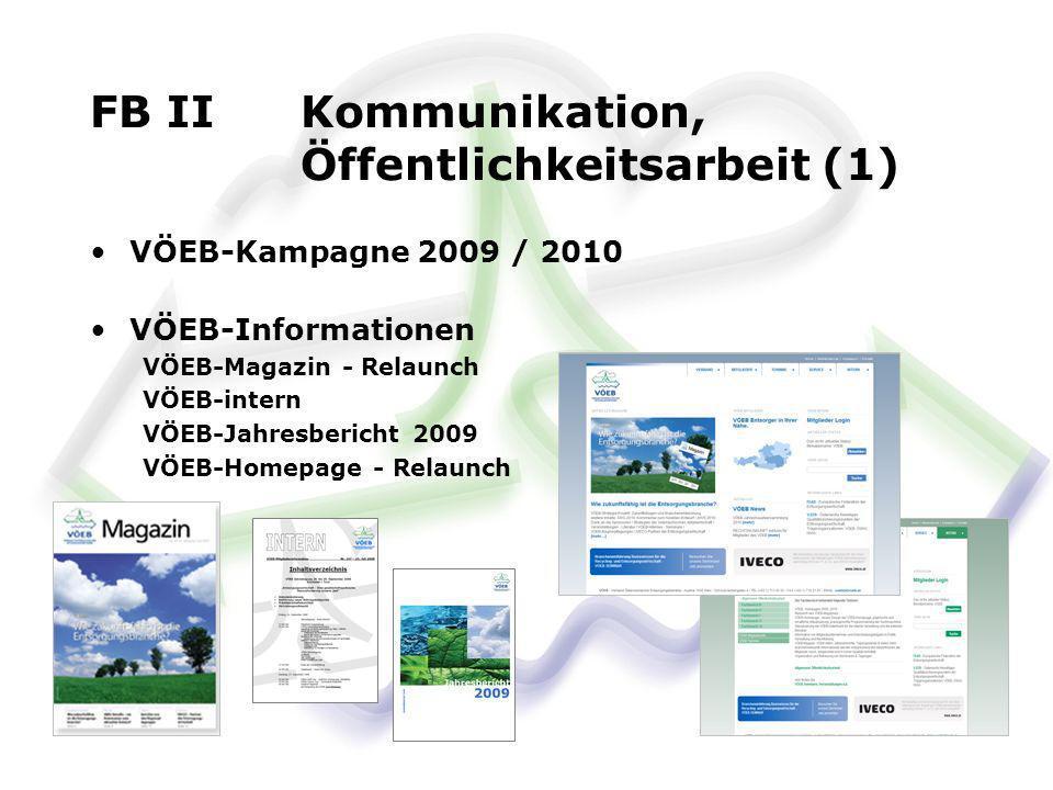 FB II Kommunikation, Öffentlichkeitsarbeit (1) VÖEB-Kampagne 2009 / 2010 VÖEB-Informationen VÖEB-Magazin - Relaunch VÖEB-intern VÖEB-Jahresbericht 200