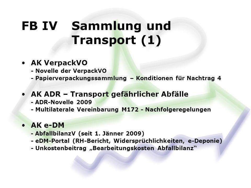 AK VerpackVO - Novelle der VerpackVO - Papierverpackungssammlung – Konditionen für Nachtrag 4 AK ADR – Transport gefährlicher Abfälle - ADR-Novelle 2009 - Multilaterale Vereinbarung M172 - Nachfolgeregelungen AK e-DM - AbfallbilanzV (seit 1.