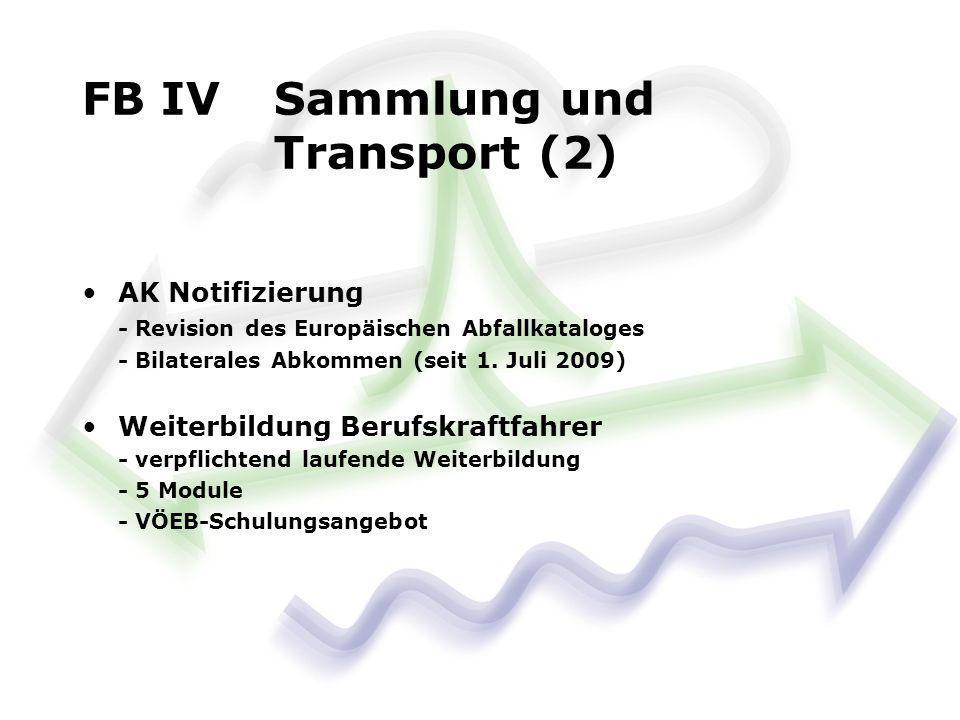 AK Notifizierung - Revision des Europäischen Abfallkataloges - Bilaterales Abkommen (seit 1. Juli 2009) Weiterbildung Berufskraftfahrer - verpflichten