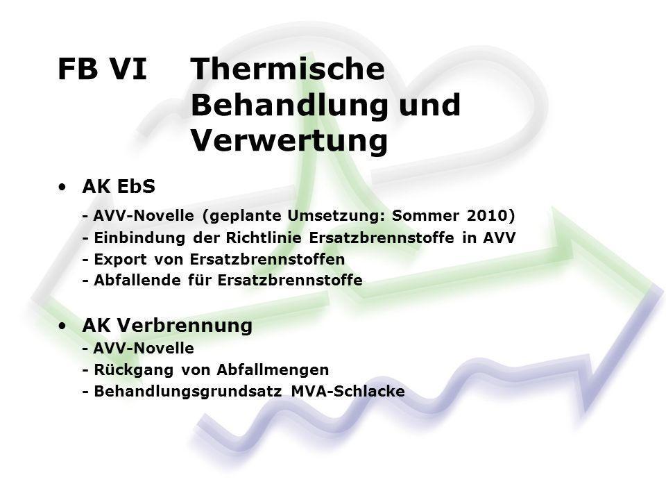 FB VI Thermische Behandlung und Verwertung AK EbS - AVV-Novelle (geplante Umsetzung: Sommer 2010) - Einbindung der Richtlinie Ersatzbrennstoffe in AVV