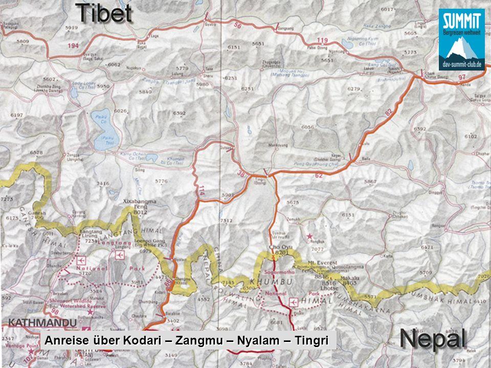 Anreise über Kodari – Zangmu – Nyalam – Tingri