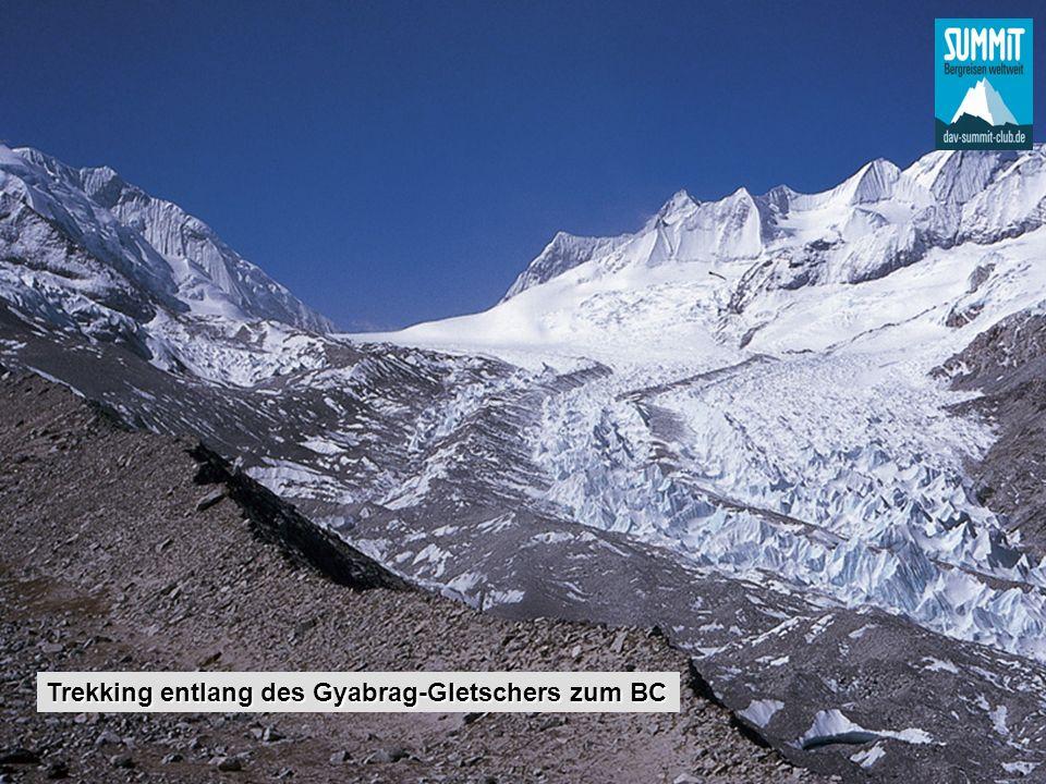 Trekking entlang des Gyabrag-Gletschers zum BC