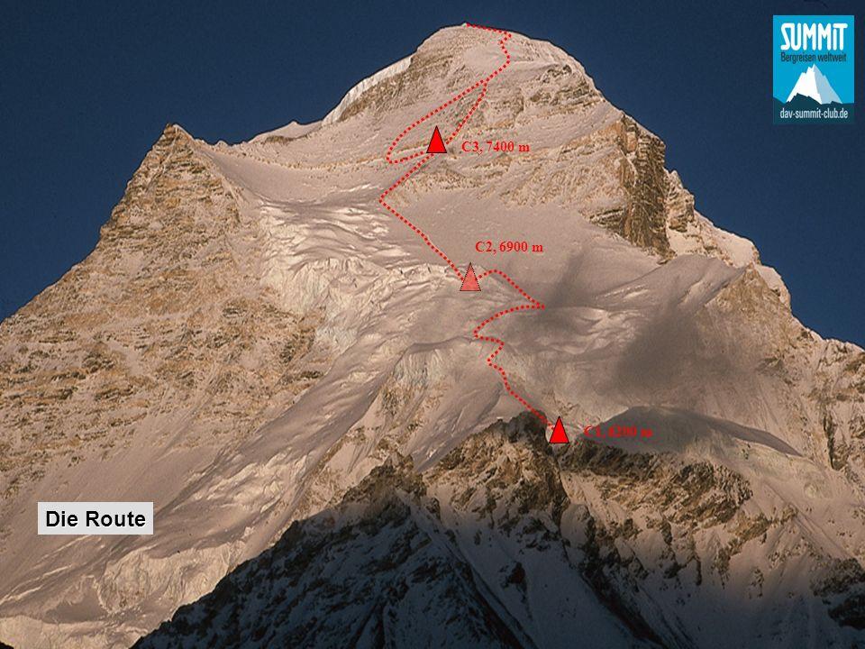 C3, 7400 m, mit Schlüsselstelle #3, das Gelbe Band